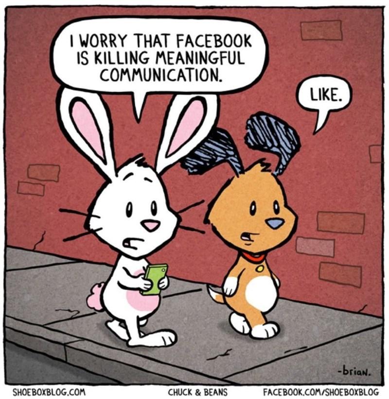 Cartoon - I WORRY THAT FACEBOOK IS KILLING MEANINGFUL COMMUNICATION. LIKE. -briaN. SHOEBOXBLOG.COM CHUCK & BEANS FACEBOOK.COM/SHOEBOXBLOG Un