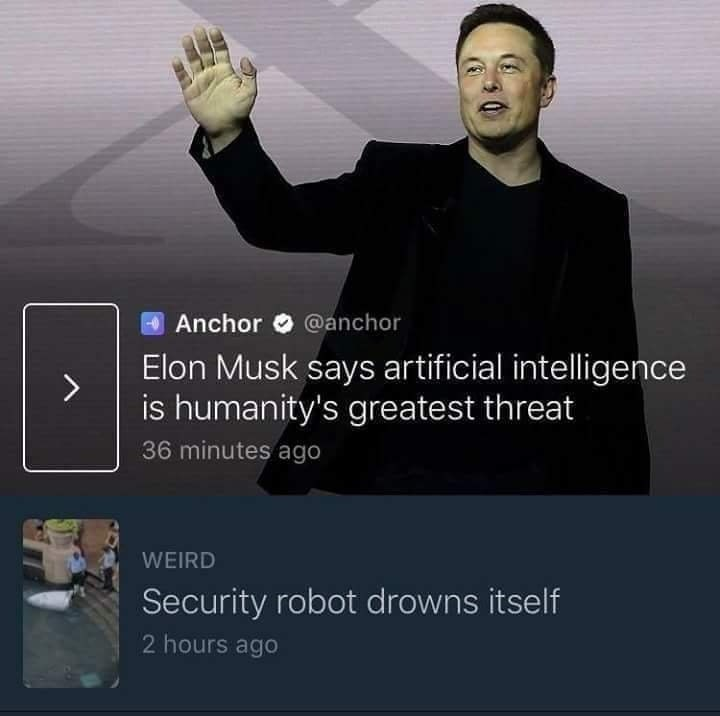 Funny picture with tweets from Elon Musk about technology but a security robot drowned itself.