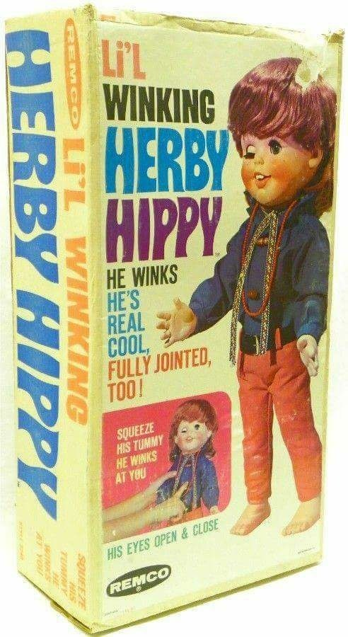 Toy - Li'L WINKING HERBY HIPPY HE WINKS HE'S REAL COOL FULLY JOINTED TOO! SOUEEZE HIS TUMMY HE WINKS HIS EYES OPEN & CLOSE REMCO GEMCO LIL WINKING SOUEEZE TMY HERBY HIPPY AYOU