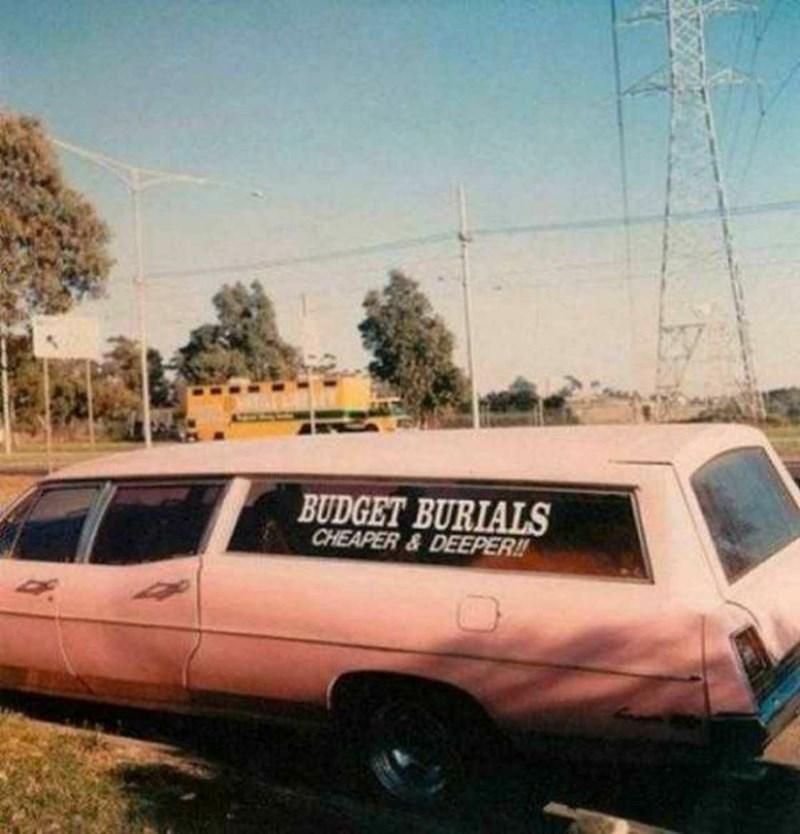 Land vehicle - BUDGET BURIALS CHEAPER&DEEPER!!