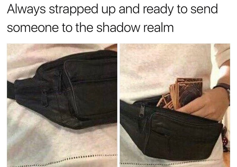 Funny meme about Magic the gathering players ready to send someone to the shadow realm.