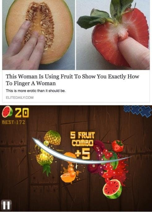 Food group - This Woman Is Using Fruit To Show You Exactly How To Finger A Woman This is more erotic than it should be. ELITEDAILY.COM 20 BEST:172 S FRUIT COMBO +5