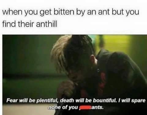 Text - when you get bitten by an ant but you find their anthill Fear will be plentiful, death will be bountiful. I will spare none of you ants.