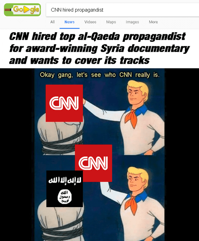 Font - GoDgle CNN hired propagandist All Videos News Маps Images More CNN hired top al-Qаeda propagandist for award-winning Syria documentary and wants to cover its tracks Okay gang, let's see who CNN really is. CNN CNN nire imme Jus