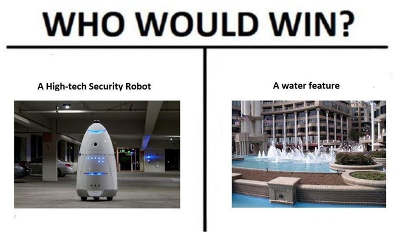 Product - WHO WOULD WIN? A water feature A High-tech Security Robot