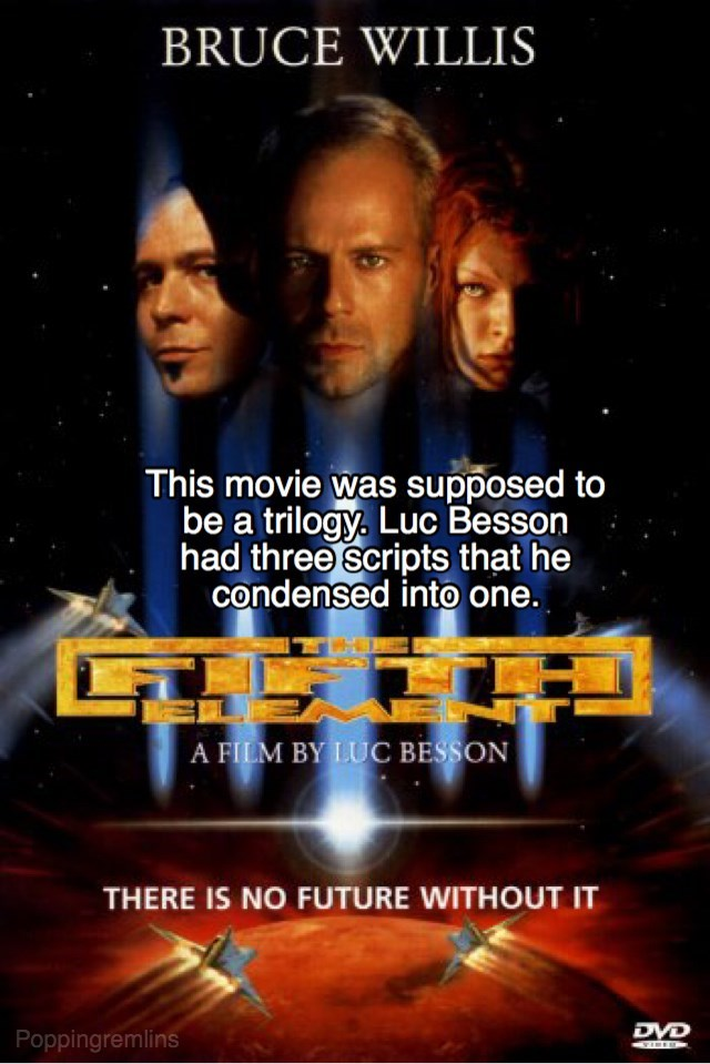 Movie - BRUCE WILLIS This movie was supposed to be a trilogy. Luc Besson had three scripts that he condensed into one. A FILM BY LUC BESSON THERE IS NO FUTURE WITHOUT IT DVD Poppingremlins