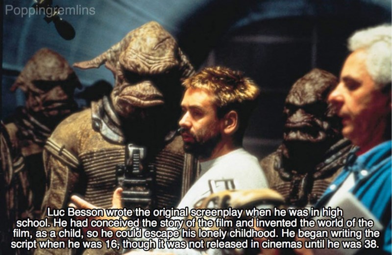 Photo caption - Poppingsemlins Luc Besson wrote the original screenplay when he was in high school, He had conceived the story of the film and invented the world of the film, as a child, so he could escape his lonely childhood. He began writing the script when he was 16, though it was not released in cinemas until he was 38.