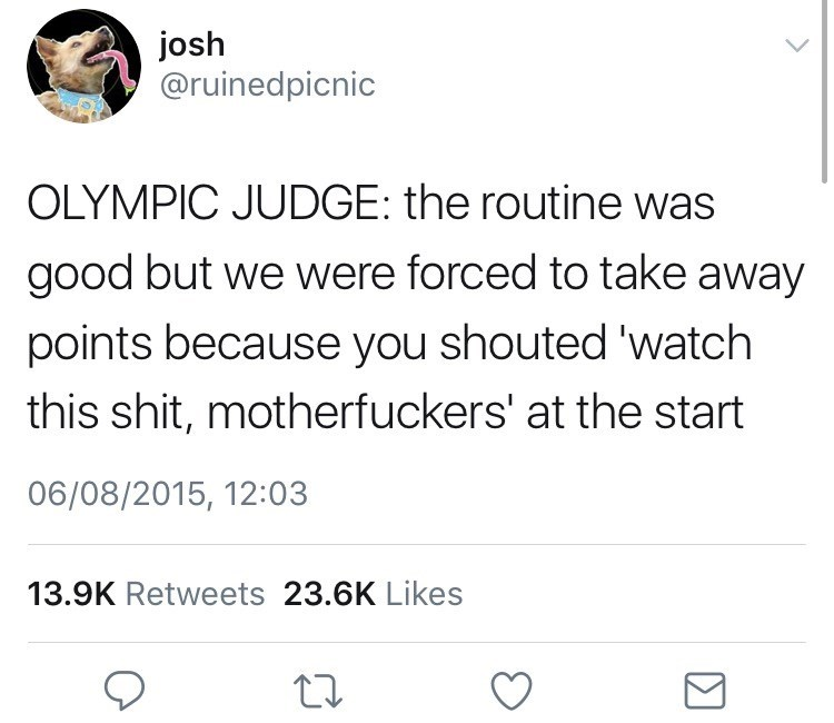 Text - josh @ruinedpicnic OLYMPIC JUDGE: the routine was good but we were forced to take away points because you shouted 'watch this shit, motherfuckers' at the start 06/08/2015, 12:03 13.9K Retweets 23.6K Likes
