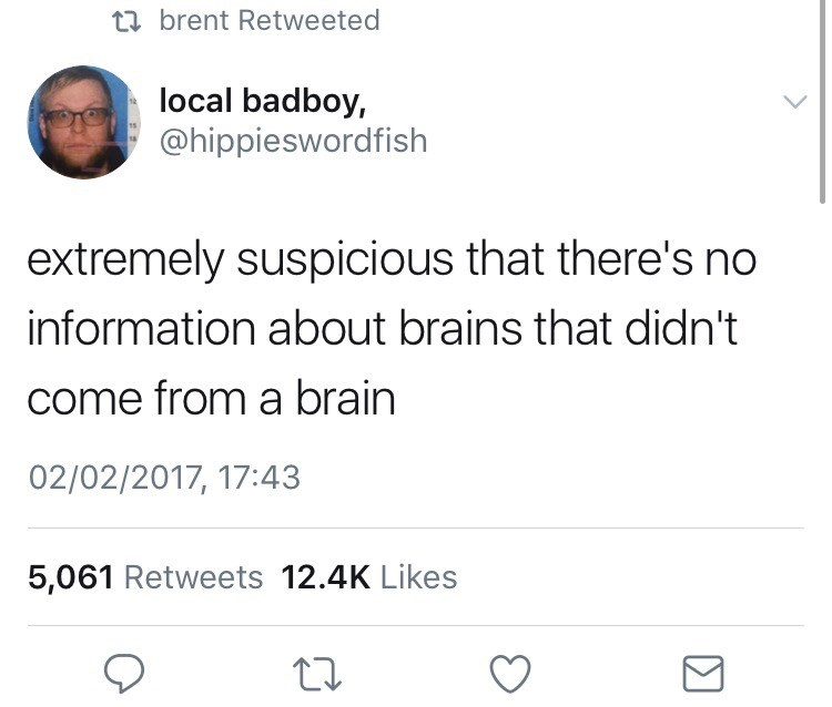 Text - ta brent Retweeted local badboy, @hippieswordfish extremely suspicious that there's no information about brains that didn't come from a brain 02/02/2017, 17:43 5,061 Retweets 12.4K Likes