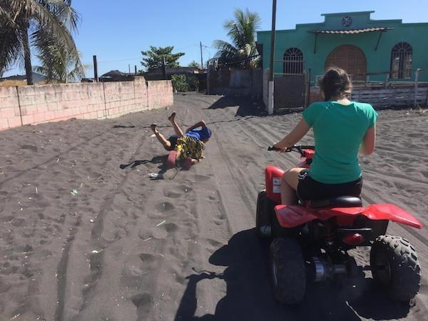 Perfectly timed photo os someone falling off their quad bike.