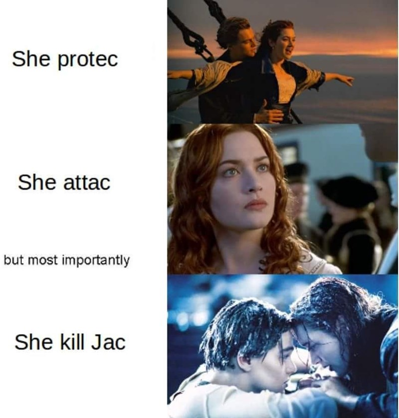 Funny meme about how rose could have saved jack in titanic.