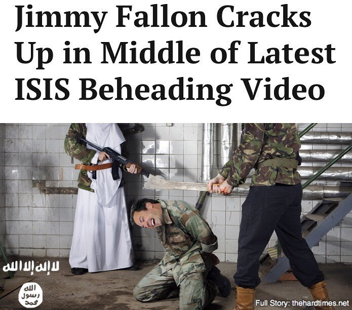 Funny hard times news article about jimmy fallon cracking up during his beheading by ISIS.