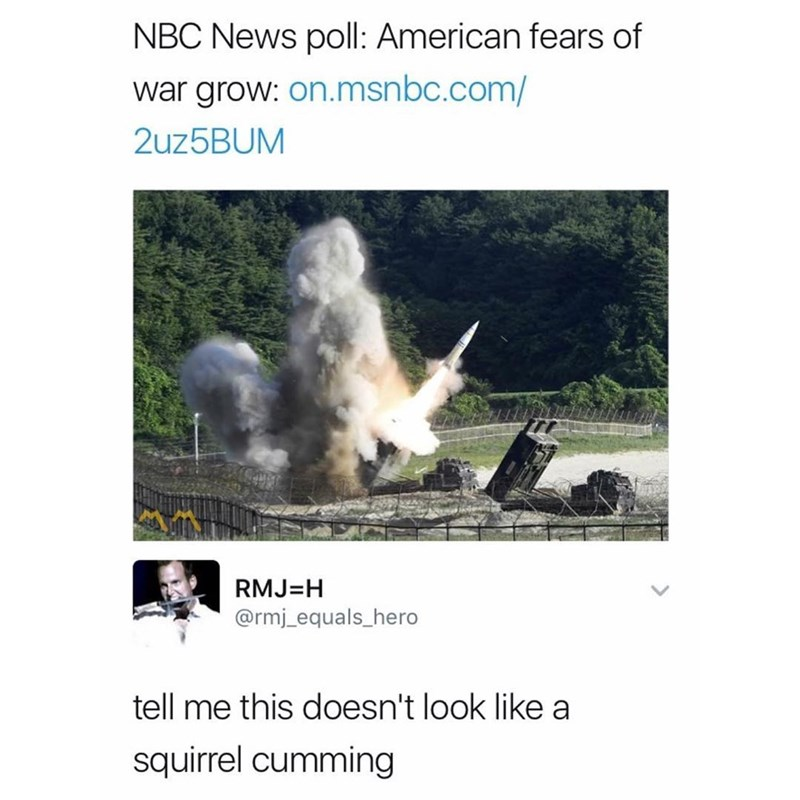 Funyn meme about Americans fearing war, picture of someone saying a rocket explosion looks like a squirrel cumming.