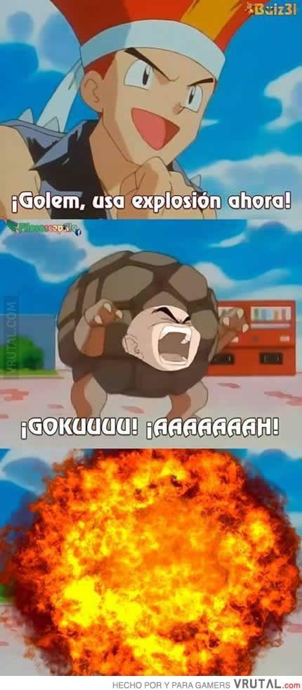explosion de krilin en pokemon meme de krilin