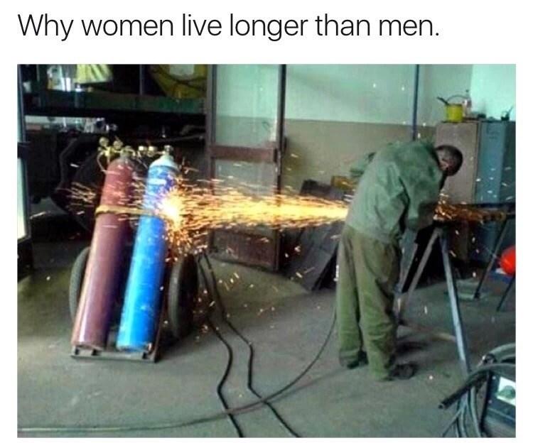 Welder - Why women live longer than men.