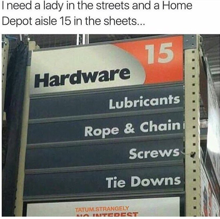 Text - I need a lady in the streets and a Home Depot aisle 15 in the sheets... 15 Hardware Lubricants Rope & Chain Screws Tie Downs TATUM.STRANGELY ANTEDEST