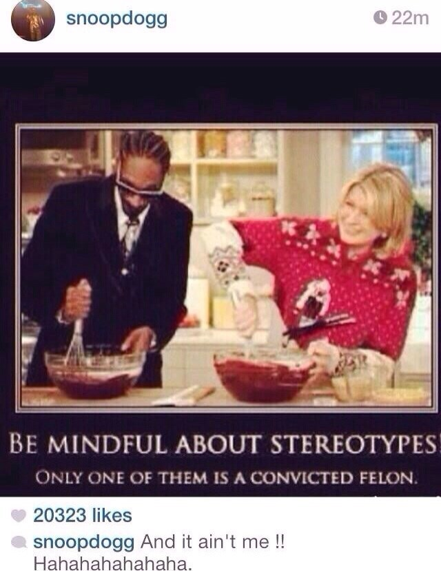 Photo caption - snoopdogg 22m BE MINDFUL ABOUT STEREOTYPES ONLY ONE OF THEM IS A CONVICTED FELON. 20323 likes snoopdogg And it ain't me !! Hahahahahahaha.
