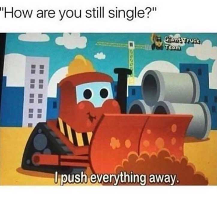 Funny meme about being single because you push everything away.