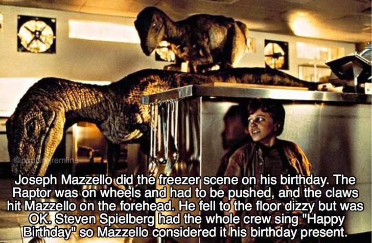 fun fact about Jurassic Park movie and how the Raptor kitchen scene was done on Joseph Mazzello's birthday and the crew sang him happy birthday