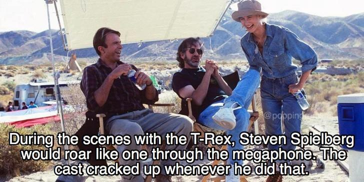Meme about how Steven Spielberg wold roar in the megaphone to crack up the cast while filming Jurassic Park