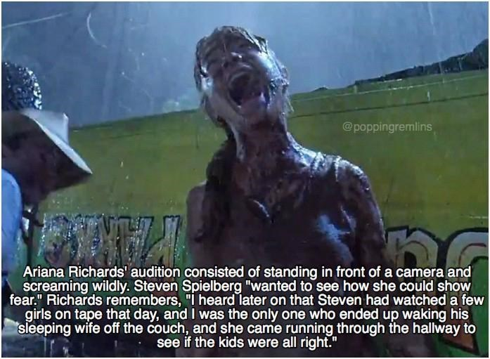 Meme about how Ariana Richards scream in Jurassic park audition even startled Steven Spielberg's sleeping wife on the couch.