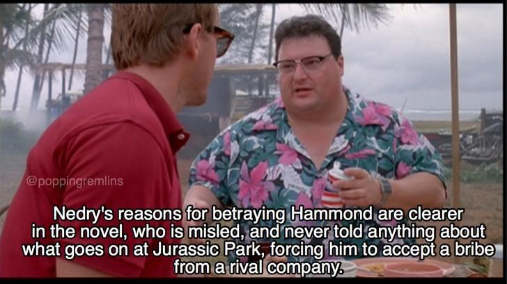 Meme about Nedry's betrayal in Jurassic park as explained by the book, not the movie.