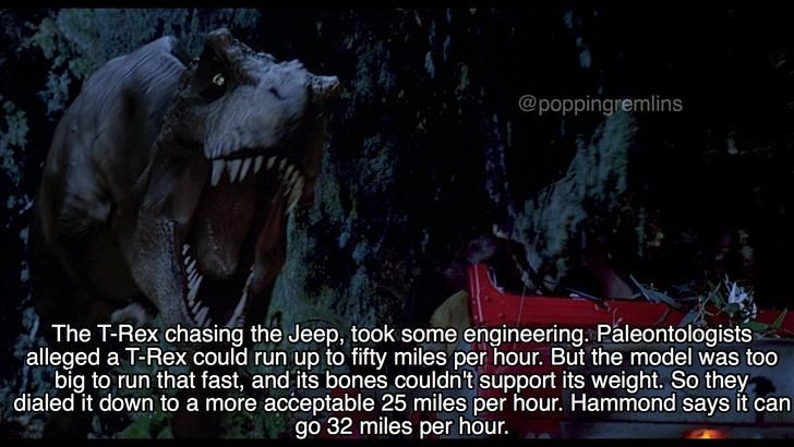Meme about how the t-rex chasing the jeep was slowed down from how fast the T-rex could actually run