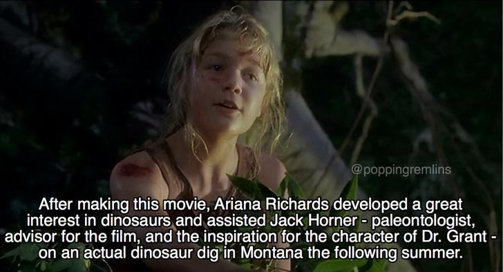meme about Ariana Richards taking interest in dinosaurs after starring in the movie Jurassic Park