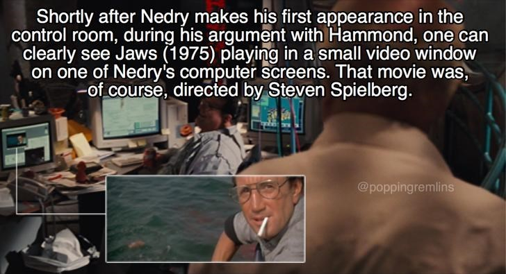 Scene from Jurassic park in which Nedry is watching Jaws on his computer.