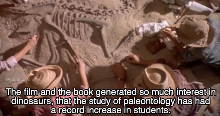 Fun fact about how Jurassic park movie and film generated a huge interest in dinosaurs.