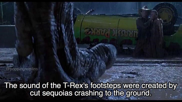Meme explaining how the sound of T-rex's footsteps on the ground were made by crashing Sequoias