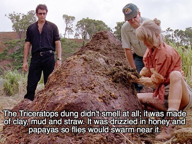 Fun fact that the triceratops dung didn't smell, and was made of clay mud and straw with some honey and papayas drizzled on so flies would swarm it.