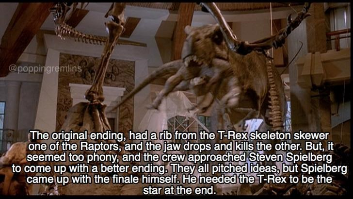 fun fact about Jurassic Park about how the original death of the raptors was a dinosaur skeleton accident, but eventually it was the T-rex showing up.