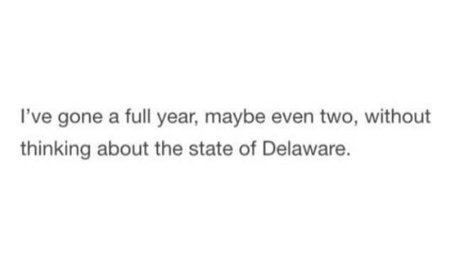 Shower thought about how much time has gone without thinking about the state of Delaware.