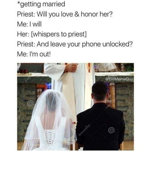 Stock photo wedding meme about locking your phone.