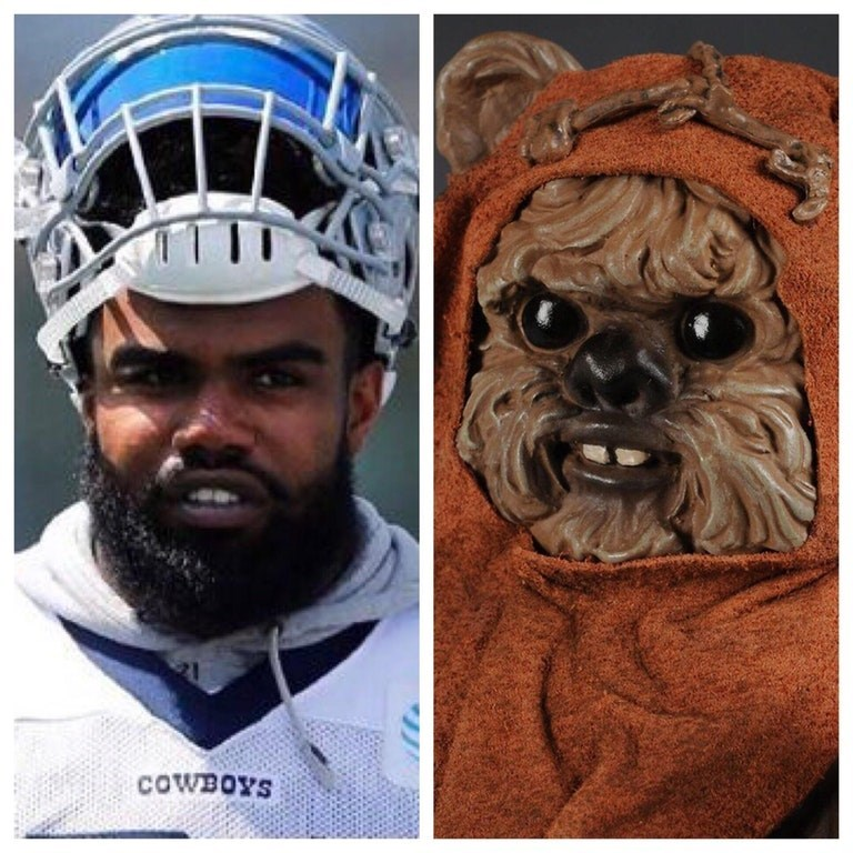Ezekiel Elliot gets trolled through comparison of his face to an Ewok from Star Wars.