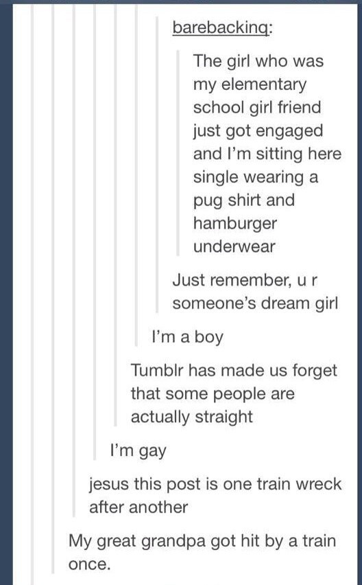 Text - barebacking: The girl who was my elementary school girl friend just got engaged and I'm sitting here single wearing a pug shirt and hamburger underwear Just remember, ur someone's dream girl I'm a boy Tumblr has made us forget that some people are actually straight I'm gay jesus this post is one train wreck after another My great grandpa got hit by a train once
