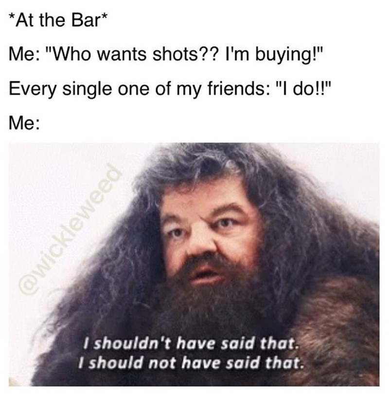 Funny mem eabout offering your friends shots, then regretting it when every friend wants one, photo of hagrid.