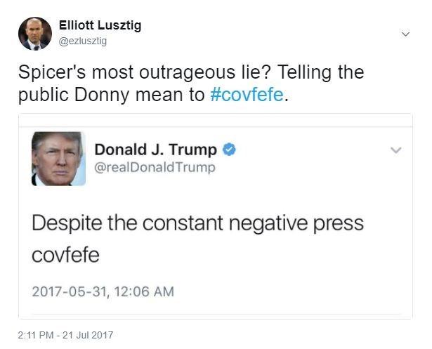Elliot Luszig tweet about Covfefe
