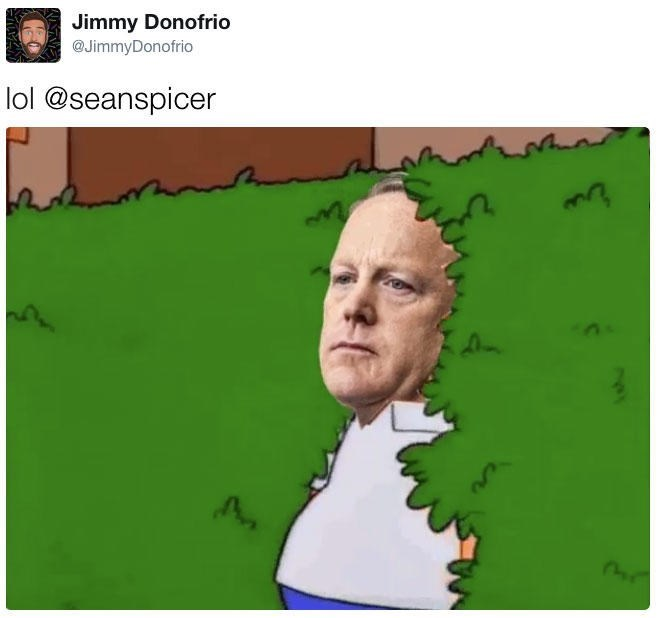 Meme tweeted by Jimmy Donofrio of Sean Spicer hiding in the bushes over-layed onto the famous Homer in the Bushes Simpson's meme.