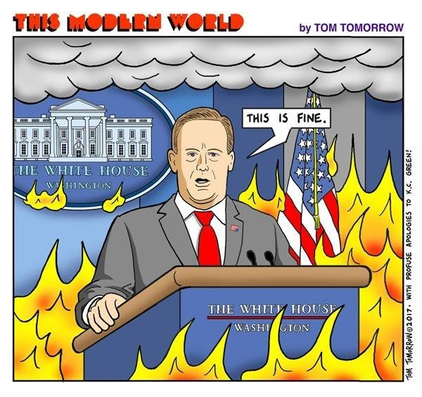Meme of Sean Spicer with fire and smoke all around him and he is saying THIS IS FINE