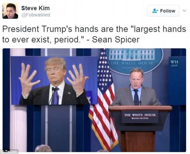 Steve Kim Tweets about Sean Spicer bragging about the size of Trump's hands