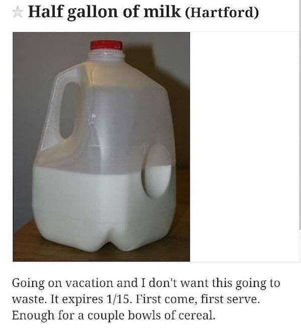 Craigslist item of a half gallon of milk in Hartford.