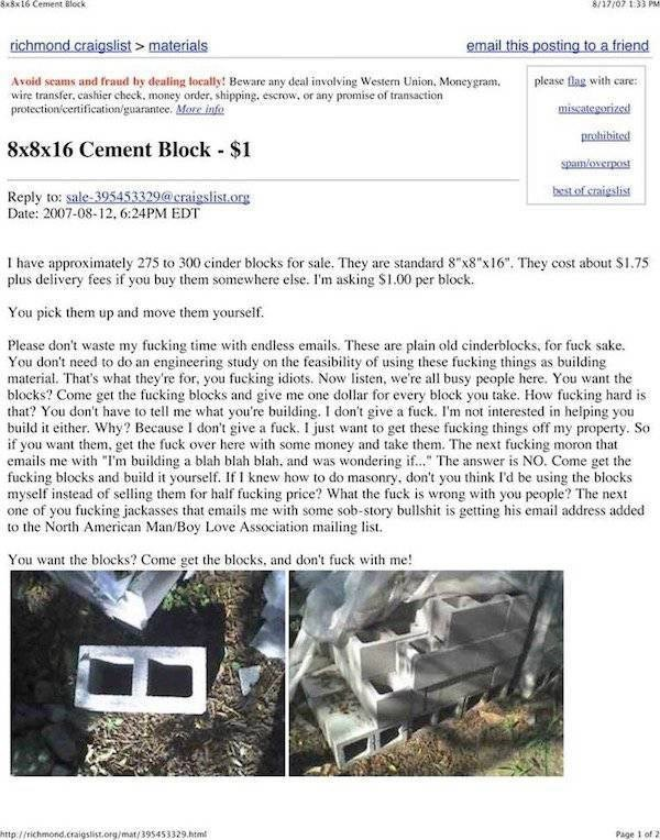 Craigslist post of man selling cement blocks that has had enough already of