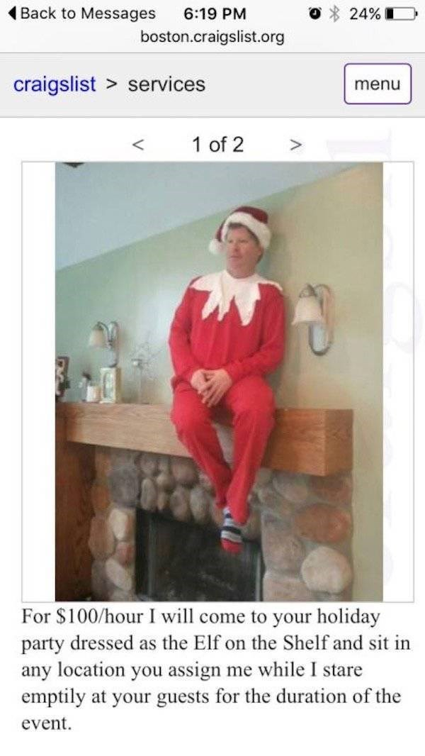 Strange posting on Craigslist of Elf On a Shelf service that is only a little creepy.