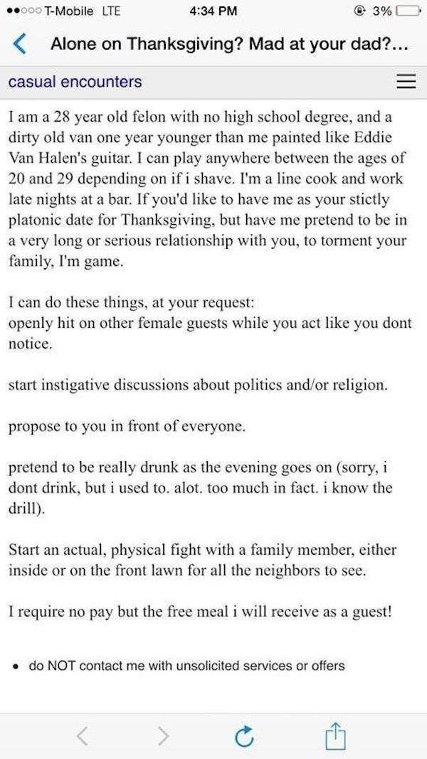 Awesome post on Craigslist of ex-con who is willing to make a scene at the next family get together.