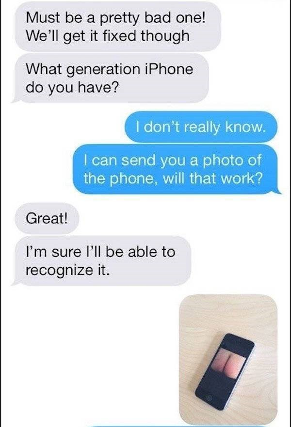 Man sends Craigslist iPhone repairman pic of the phone, with a pic of a butt crack on the screen.