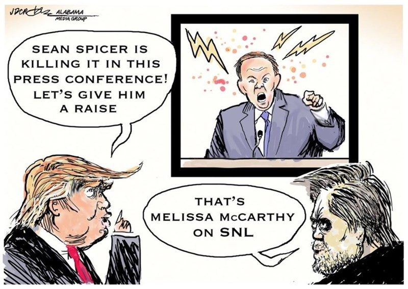 Cartoon of Trump liking Sean Spicer on TV and Steve Bannon tells him that is Melissa McCarthy
