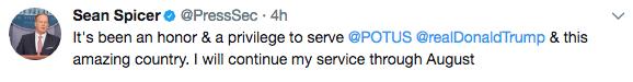 Sean Spicer resignation tweet