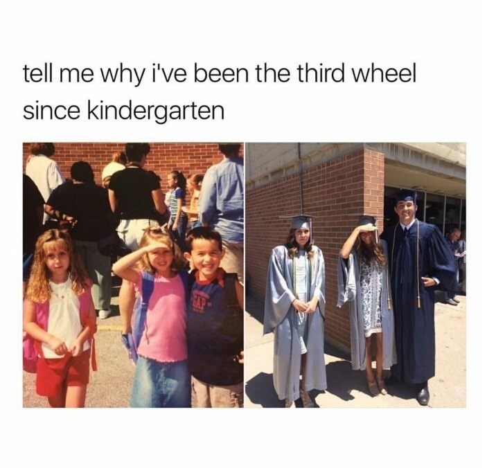 very sad picture of girl who has been the third wheel from the age of kindergarten till graduating high school